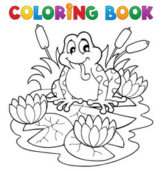 Coloring book river fauna image 2 vector