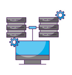 computer connected two database server data vector image