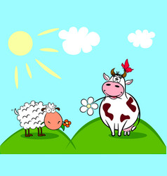 Cow and sheep vector