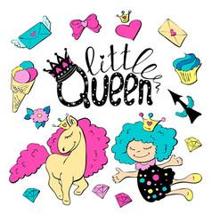 cute cartoon patch princess with unicorns hearts vector image