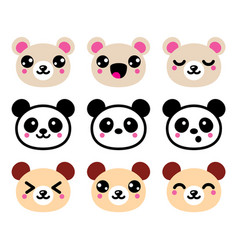 Cute kawaii bear icons set panda bear design vector
