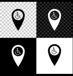 disabled handicap in map pointer icon isolated on vector image