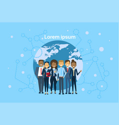 Diverse group of businesspeople over world map vector
