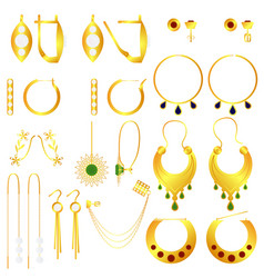 Earring clasps types golden vector