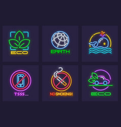 ecological eco icons set save vector image