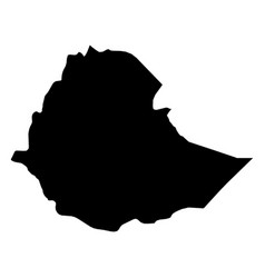 Ethiopia - solid black silhouette map of country vector