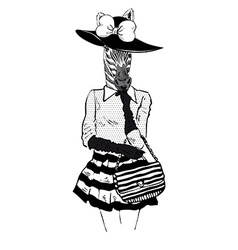Fashion of zebra lady in hat vector image