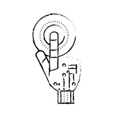 Figure hand with finger touch and circuits digital vector