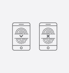 fingerprint icons with mobile phone smartphone vector image