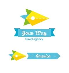 flat bird head travel company logo with identity vector image