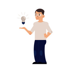 flat man with light bulb vector image