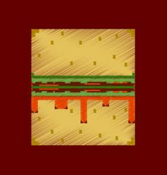 Flat shading style icon pixel burger vector