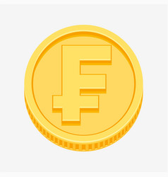 franc currency symbol on gold coin vector image