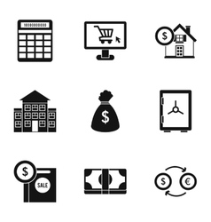 Funding icons set simple style vector