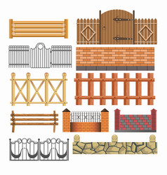 Gate fences and hedges metal stone wood vector