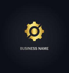 gear cogwheel gold logo vector image