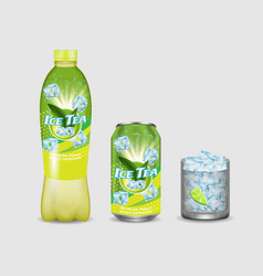 green iced tea package mockup set vector image