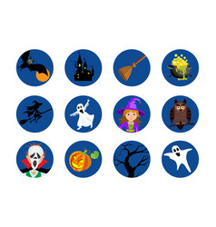 halloween round icons set isolated vector image