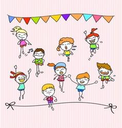 Hand drawing cartoon happy kids running marathon vector