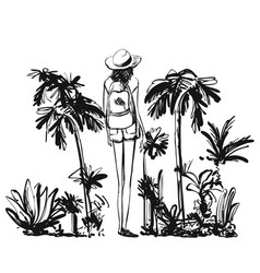 hand drawn girl and branches leaves of tropical vector image
