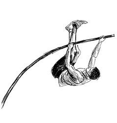 Hand sketch vaulter vector image