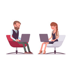 handsome male and pretty female office employee vector image