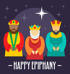 happy epiphany holiday concept background flat vector image