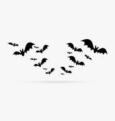 happy halloween group bats decoration element vector image