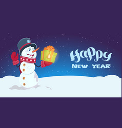 happy new year poster snowman hold gift box winter vector image