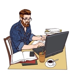 Hipster man in a jeans jacket at work A large vector