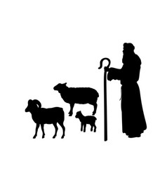 Holiday silhouettes christmas nativity shepherd vector