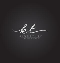 Initial letter kt logo - handwritten signature vector