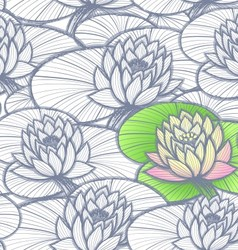 Ink hand drawn lotus coloring pattern vector image