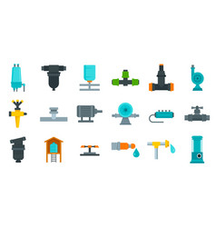 Irrigation system icon set flat style vector