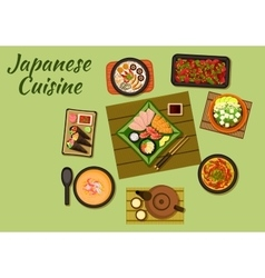 Japanese cuisine with sushi and soups vector