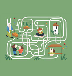 kids maze game with cute animals in nature vector image