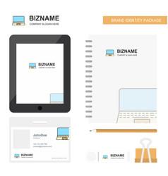 laptop business logo tab app diary pvc employee vector image