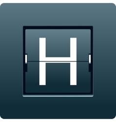Letter H from mechanical scoreboard vector