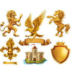 Lion horse eagle lily golden heraldic elements 3d vector