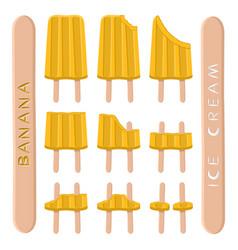 Logo for natural banana ice cream vector