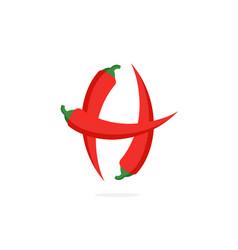 Logo red chili pepper letter h vector