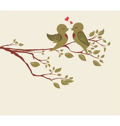 Love birds on branch vector