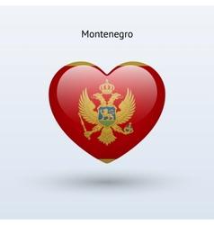 Love Montenegro symbol Heart flag icon vector image