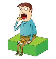 Man eating cookies vector