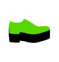 Men shoes sign green 3d icon with black vector