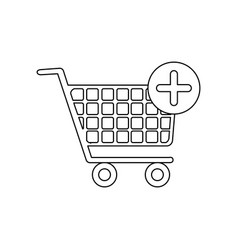 Monochrome contour with shopping cart and plus vector
