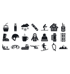 mountain ski resort icon set simple style vector image