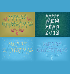 New years and christmas country cards vector