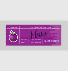 plum sticker and eco products plum web element vector image