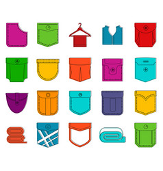 pocket icon set color outline style vector image
